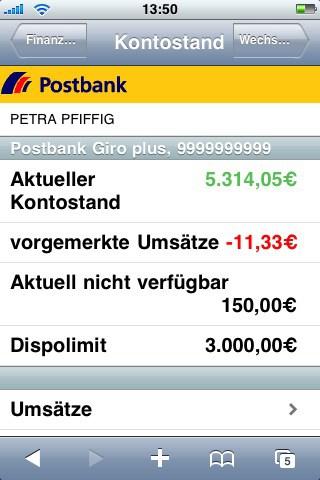 Online Banking mit dem iPhone   Finanzabank